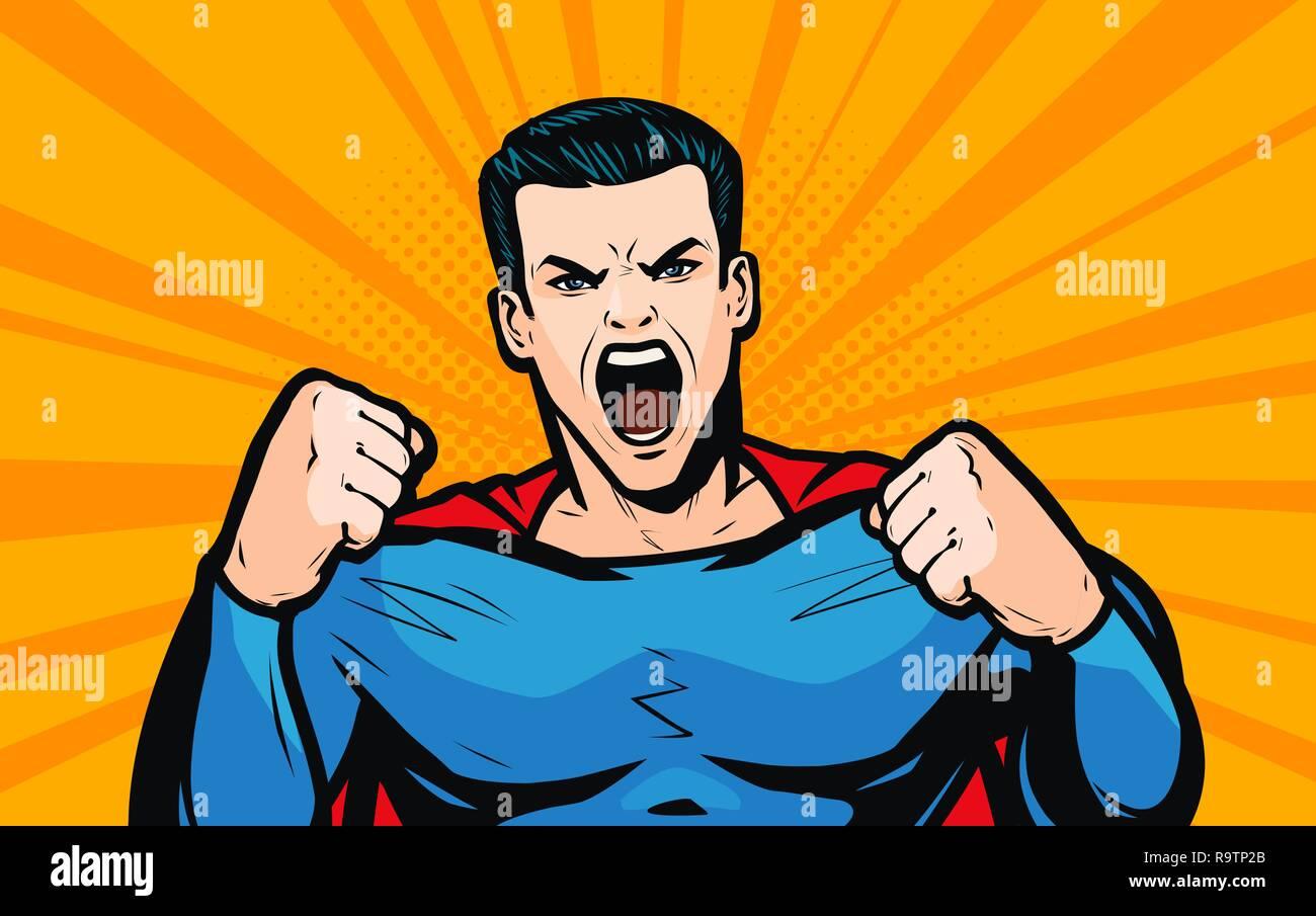 Superhero with fists. Pop art retro comic style. Cartoon vector illustration - Stock Vector