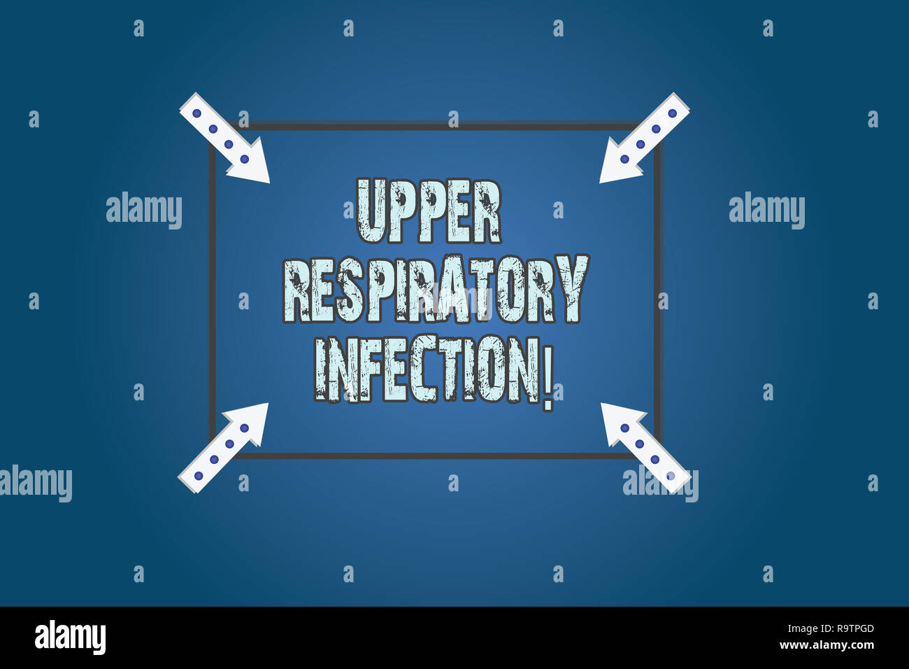 Conceptual hand writing showing Upper Respiratory Infection. Business photo text illnesses caused by an acute infection Square Outline with Corner Arr - Stock Image
