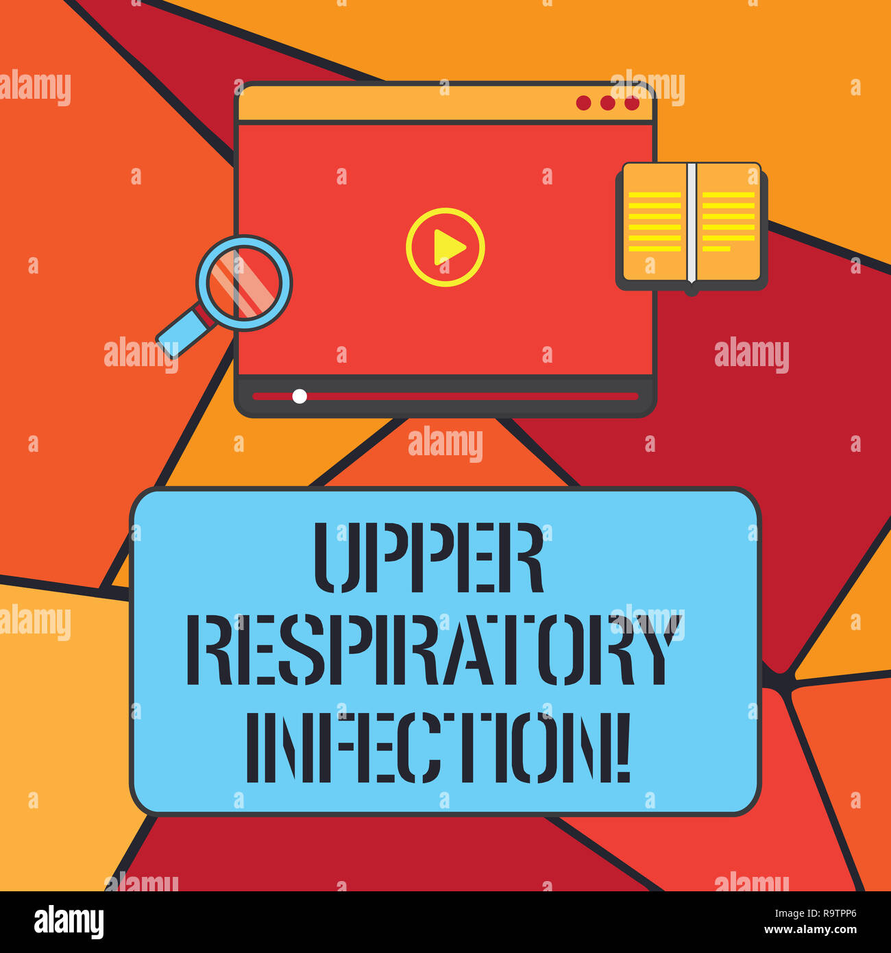Conceptual hand writing showing Upper Respiratory Infection. Business photo showcasing illnesses caused by an acute infection Tablet Video Player Uplo - Stock Image