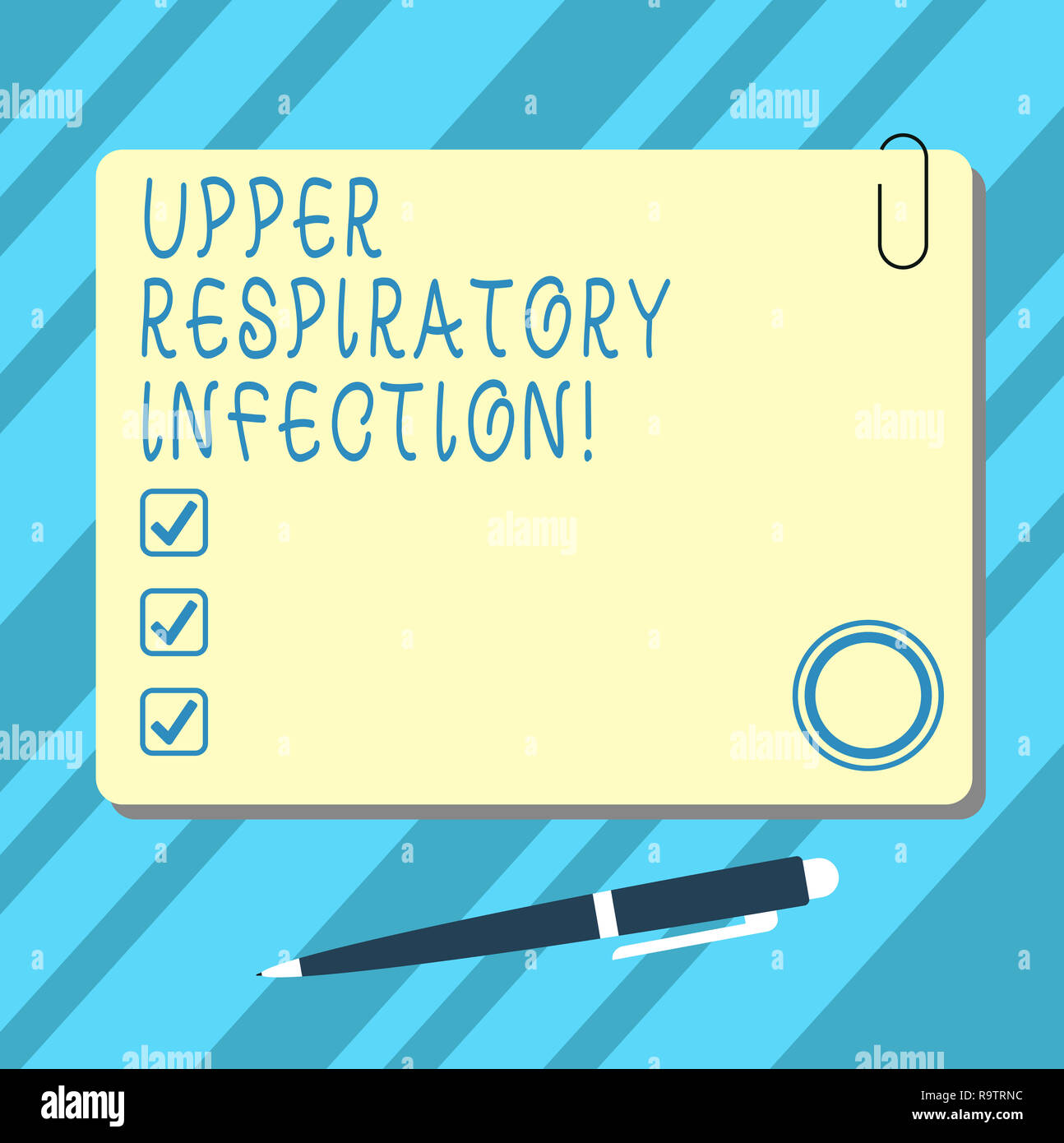 Word writing text Upper Respiratory Infection. Business concept for illnesses caused by an acute infection Blank Square Color Board with Magnet Click  - Stock Image