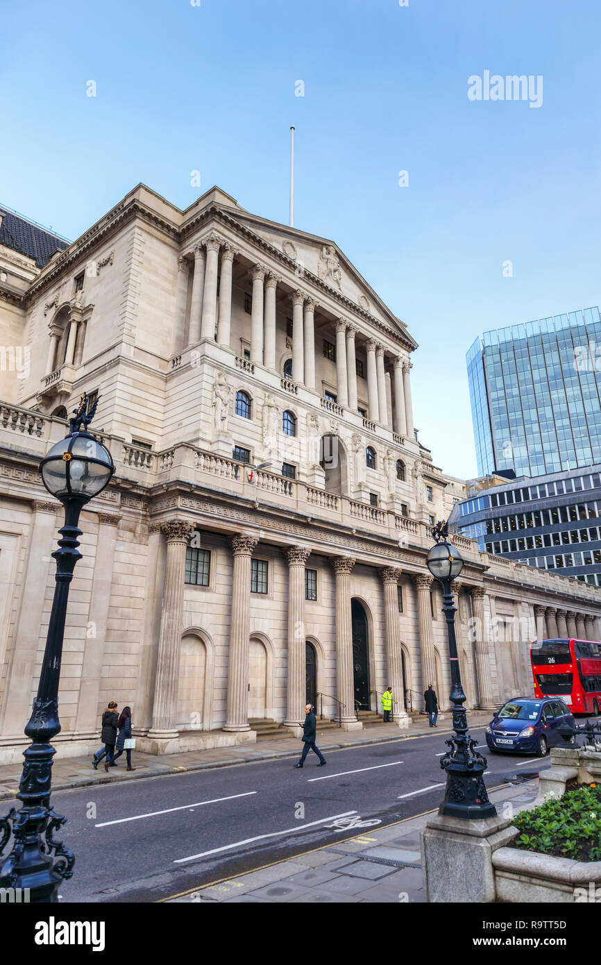 Portico entrance, facade and exterior of The Bank of England in Threadneedle Street, City of London financial district, EC2 - Stock Image