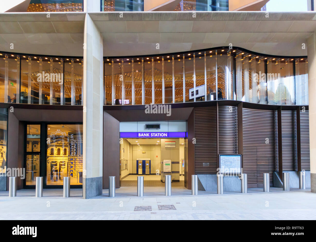 Illuminated name sign at the new entrance to Bank Tube Station under the Bloomberg building in Walbrook, London EC4 - Stock Image