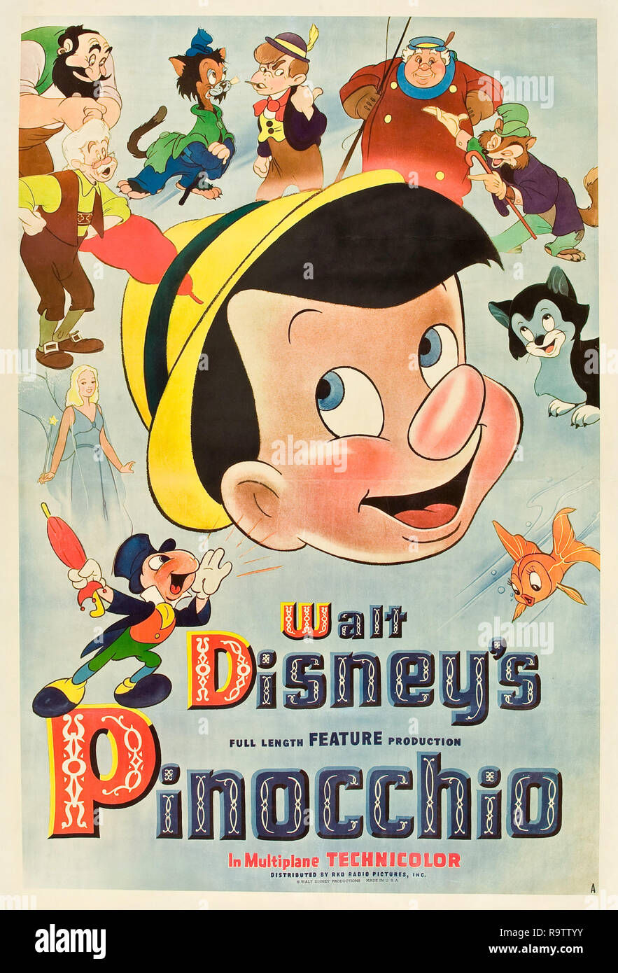 Pinocchio (RKO, 1940). Poster  Poster Art File Reference # 33635_909THA - Stock Image