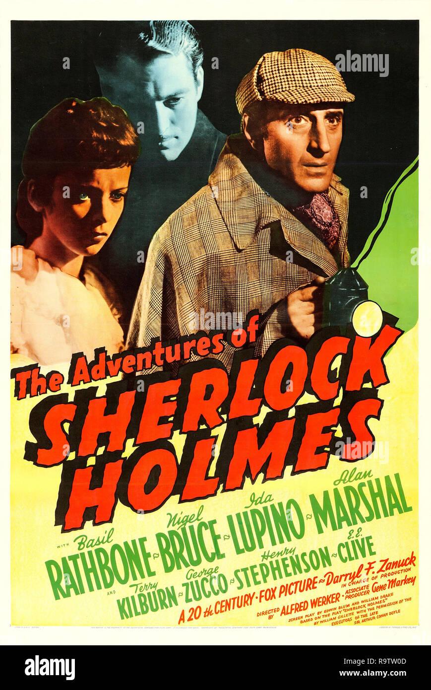 The Adventures of Sherlock Holmes (20th Century Fox, 1939). Poster  Bail Rathbone, Ida Lupino File Reference # 33635_920THA - Stock Image