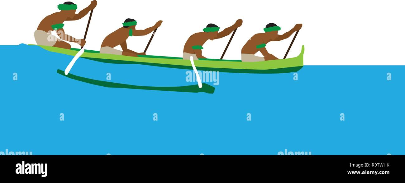 Four people in a traditional Hawaiian outrigger canoe on the ocean - Stock Vector