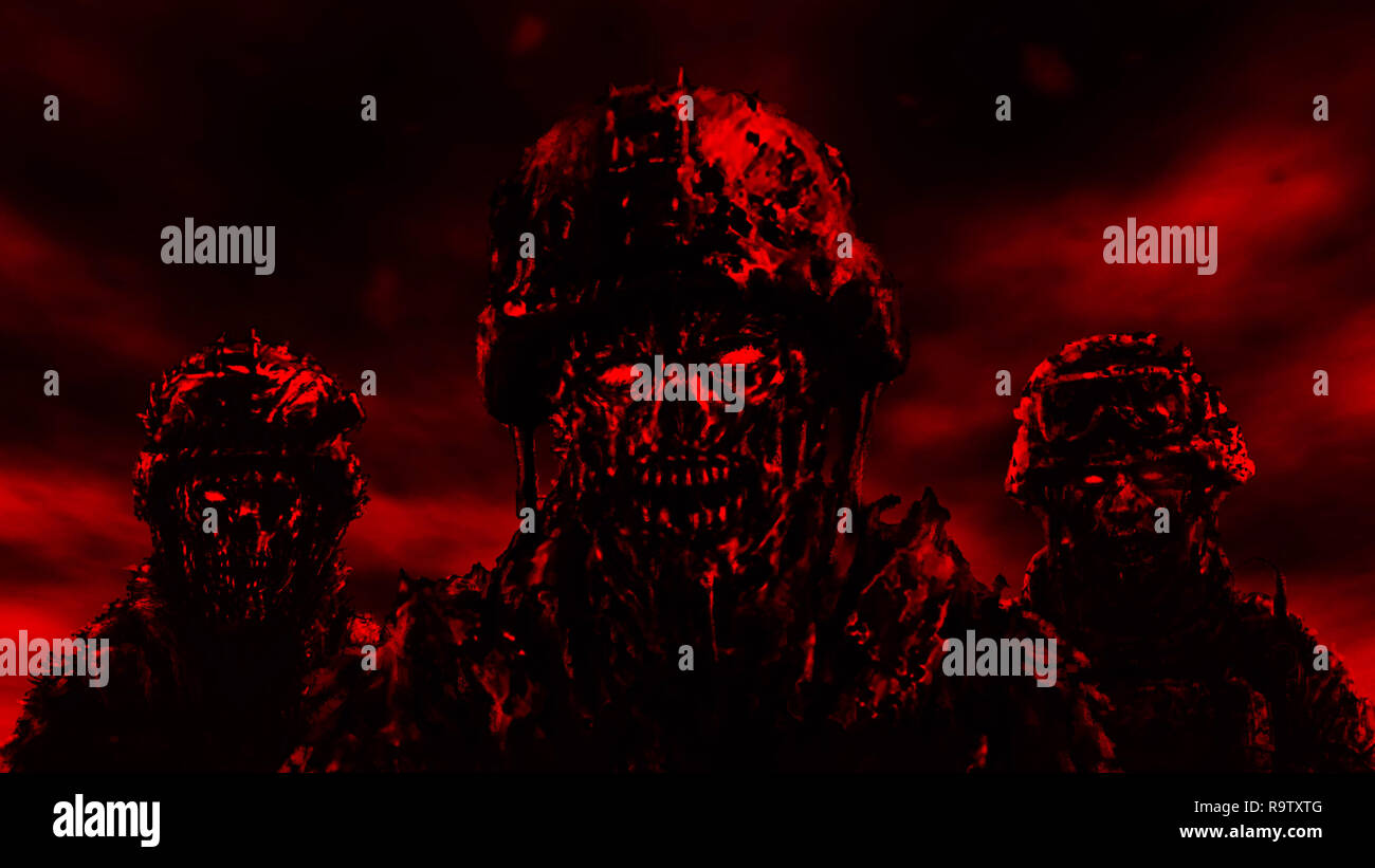 Three soldiers zombies in helmets stand against a dark sky. Illustration in genre of horror. Red color. - Stock Image