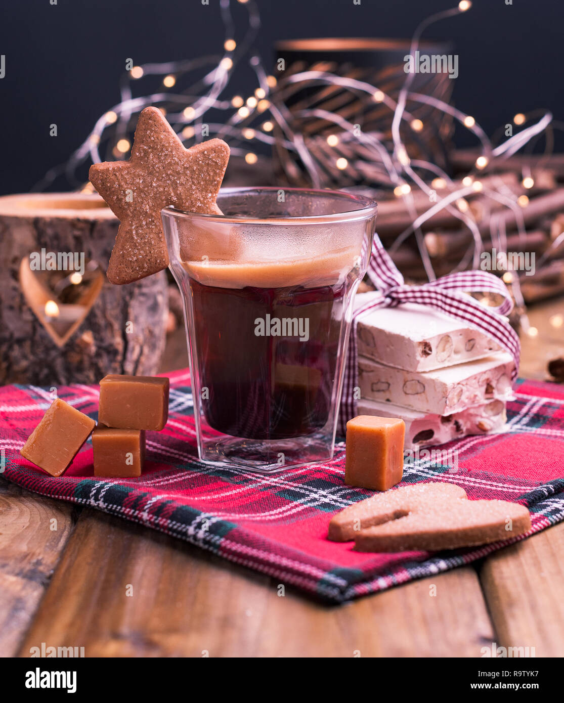 Fresh Aromatic Coffee And Italian Christmas Sweets Nougat With