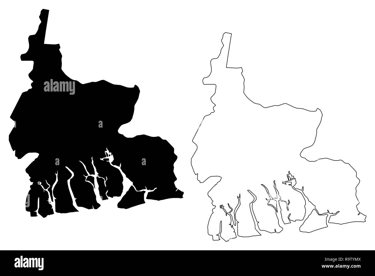 Rivers State (Subdivisions of Nigeria, Federated state of Nigeria) map vector illustration, scribble sketch Rivers map - Stock Image