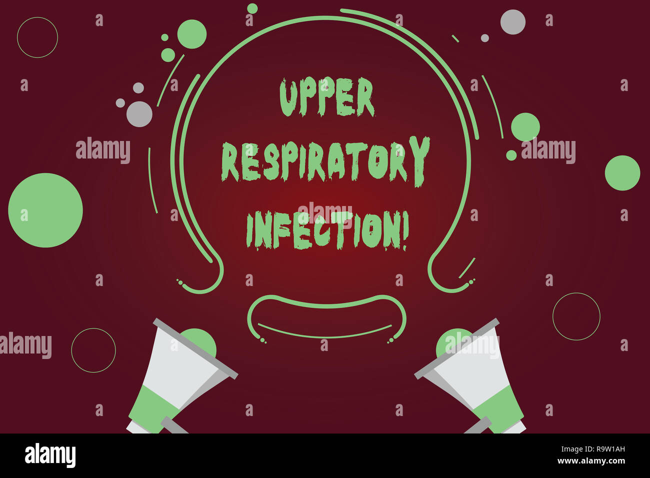 Handwriting text writing Upper Respiratory Infection. Concept meaning illnesses caused by an acute infection Two Megaphone and Circular Outline with S - Stock Image