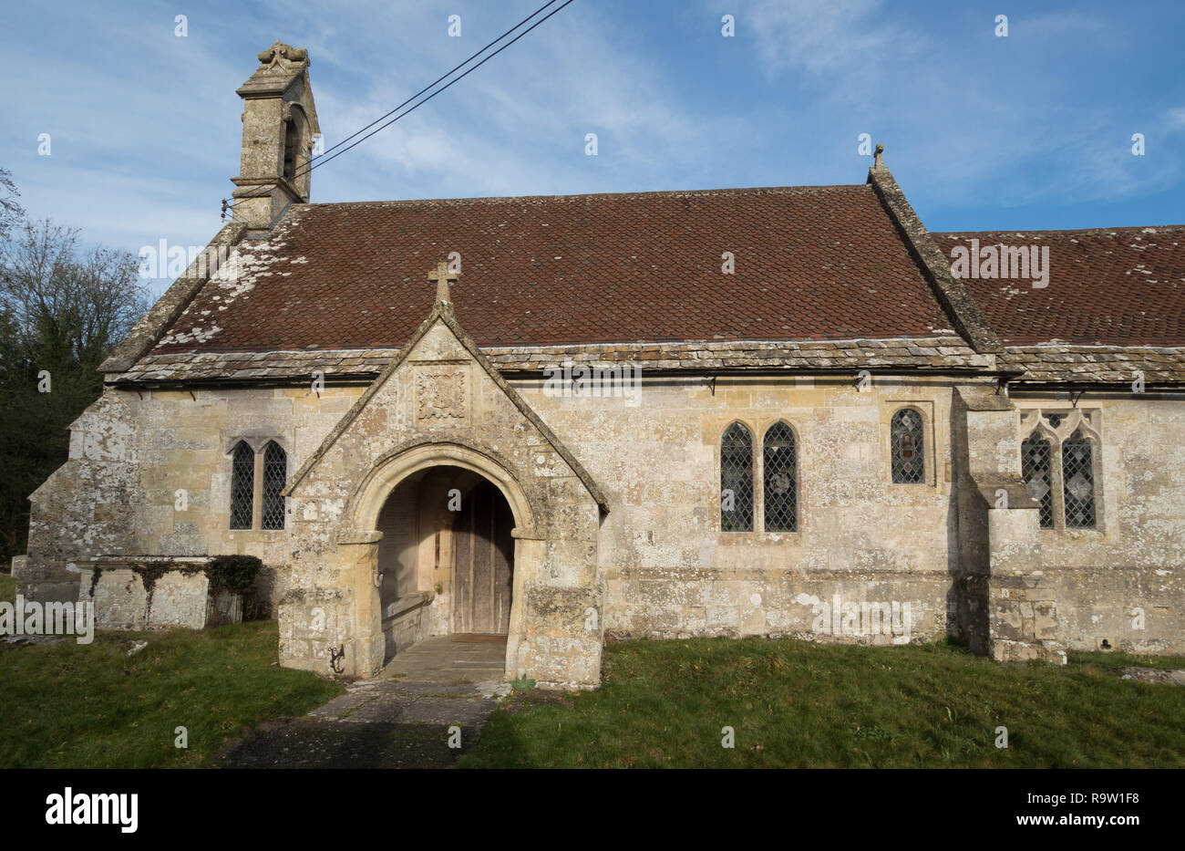 The church of St Cosmas and St Damian, Sherrington, Wiltshire - Stock Image