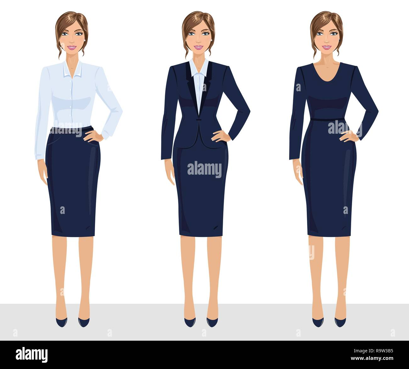 3f3847c3df7d9 Elegant pretty business woman in formal clothes. Base wardrobe, feminine  corporate dress code. Collection of full length portraits of business woman.