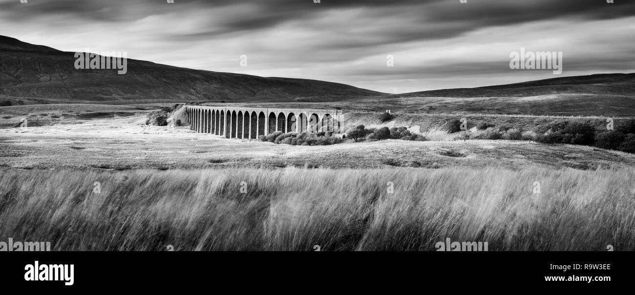 North yorkshire moors national park panoramic of ribblehead viaduct stock image