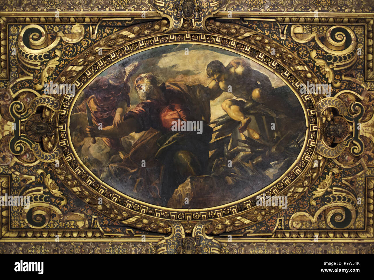 Painting 'Sacrifice of Isaac' by Venetian Renaissance painter Jacopo Robusti called Tintoretto (1577-1578) on the ceiling of the Chapter Room (Sala Capitolare) in the Scuola Grande di San Rocco in Venice, Italy. - Stock Image