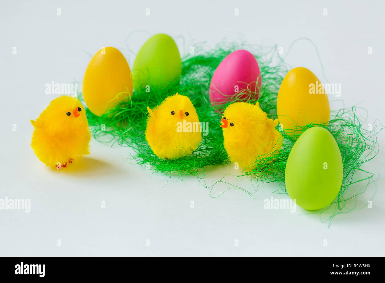 Easter composition of painted eggs on a white background. Background for greeting card. Stock Photo