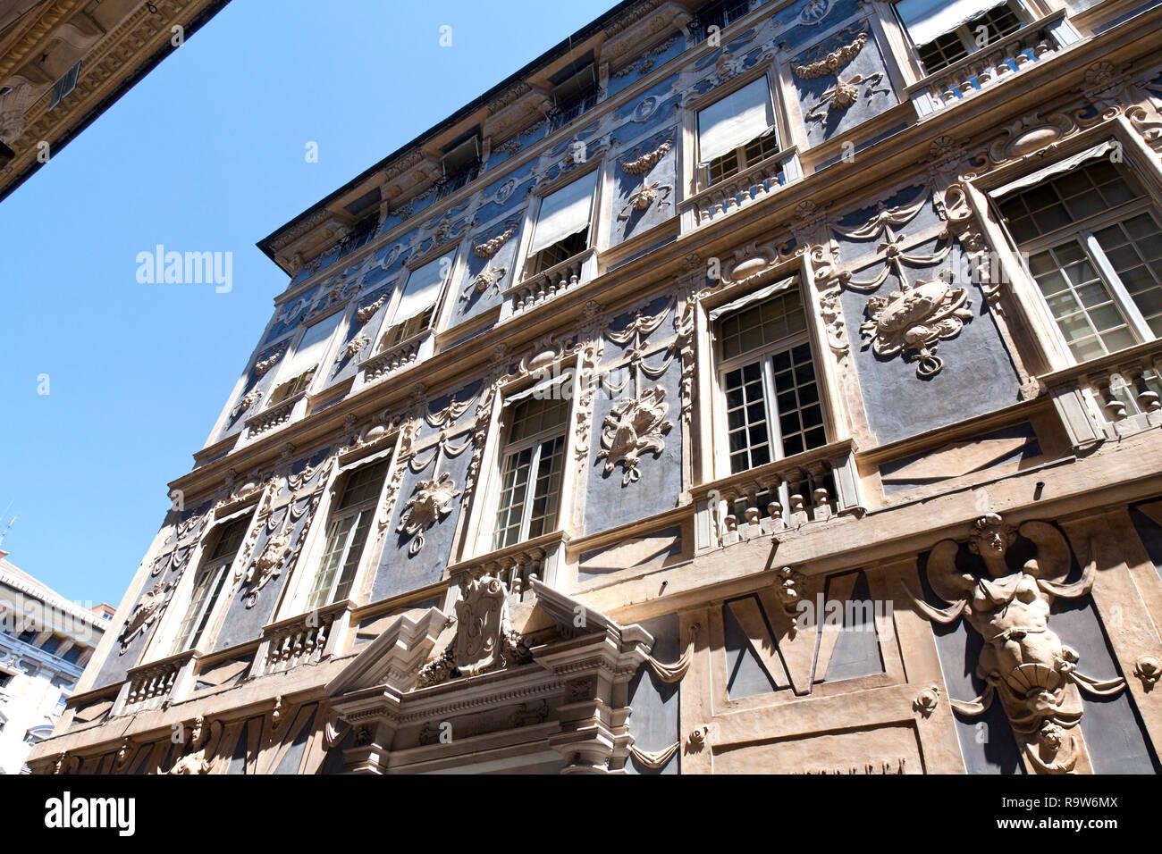 Ornate Building, Central Genoa, Italy. - Stock Image