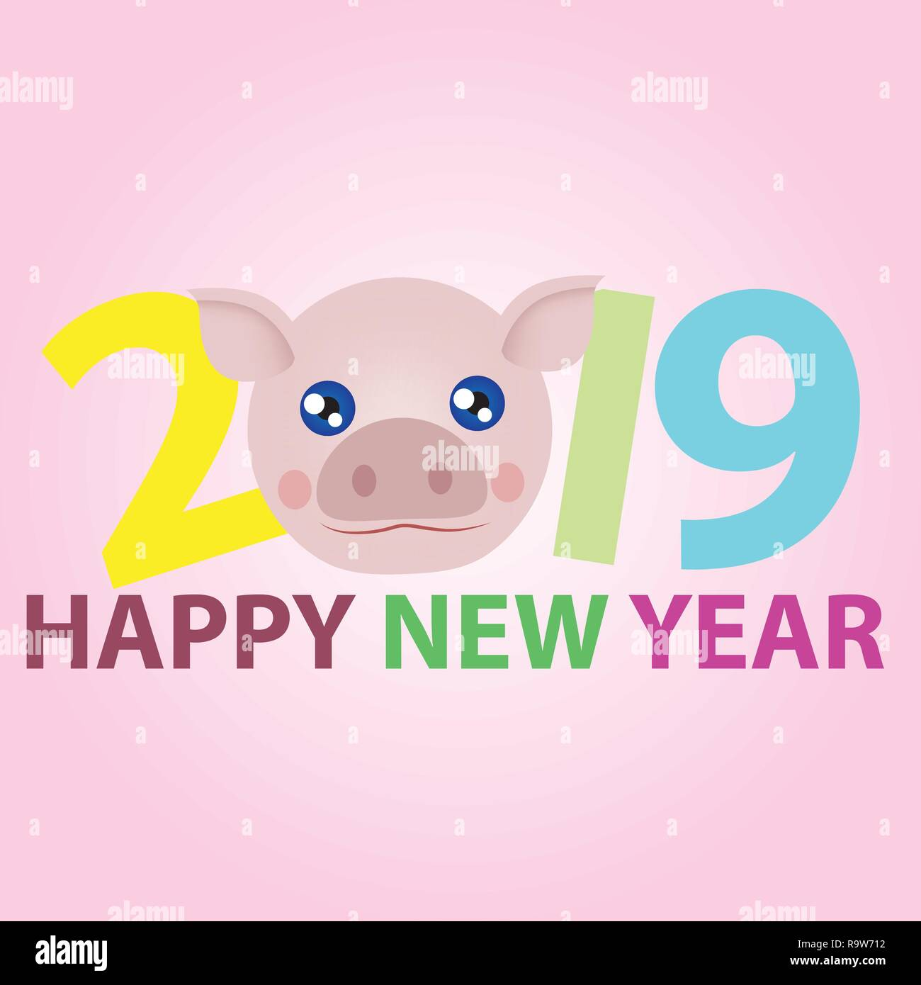 Happy new year 2019 with face of cartoon pig pink color replace zero number. - Stock Vector