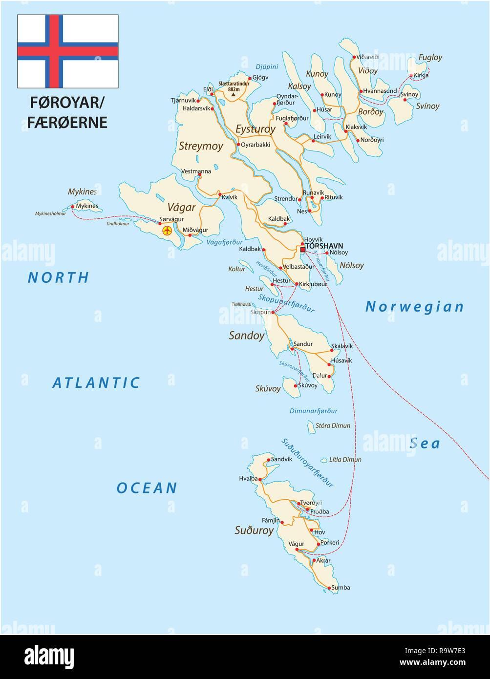 Road map of the Faroe Islands North Atlantic Archipelago with flag, Denmark - Stock Vector
