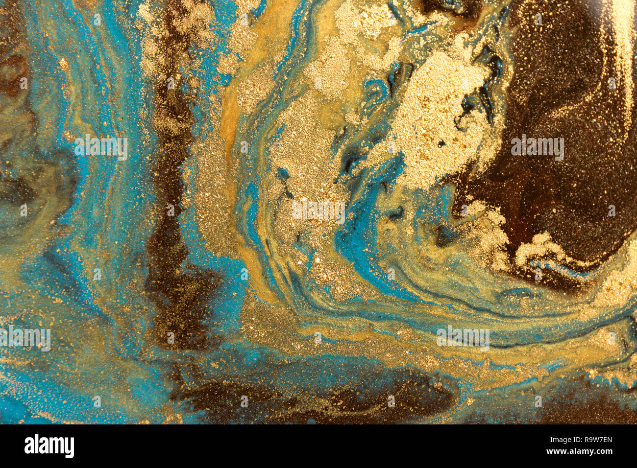 Gold Marbling Texture Design Blue And Golden Marble Pattern Fluid Art Stock Photo Alamy