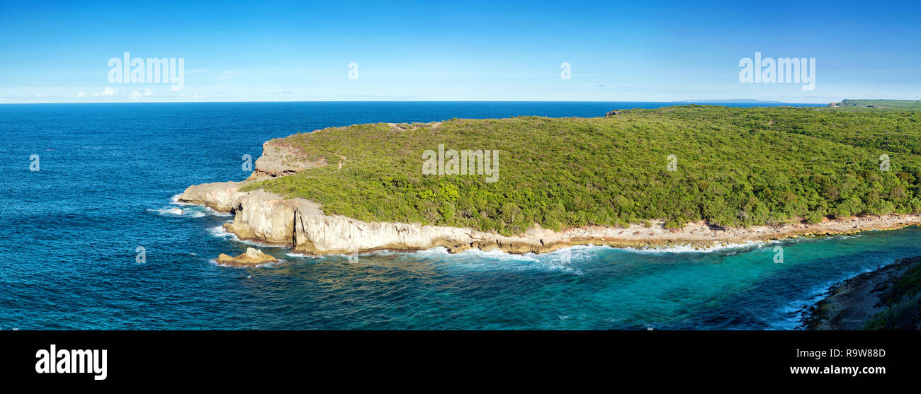 'porte d'enfer' cliffs point of view, Guadeloupe, french West Indies - Stock Image