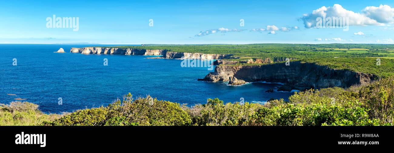 'pointe de la grande vigie' cliffs, panoramic view,Guadeloupe, French West Indies - Stock Image