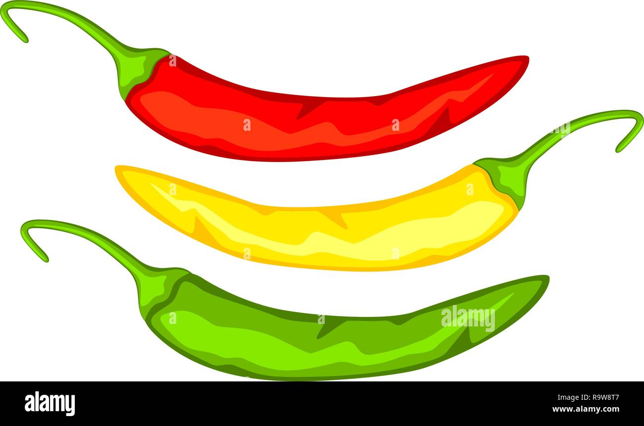 Multicolor cartoon hot chilli pepper. - Stock Vector