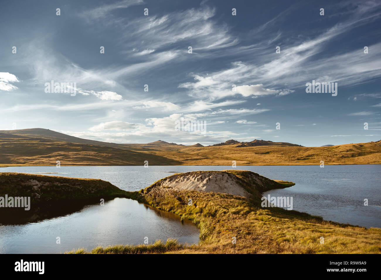 Beautiful landscape with lakes mountains and sky. Altai region, Siberia, Russia Stock Photo