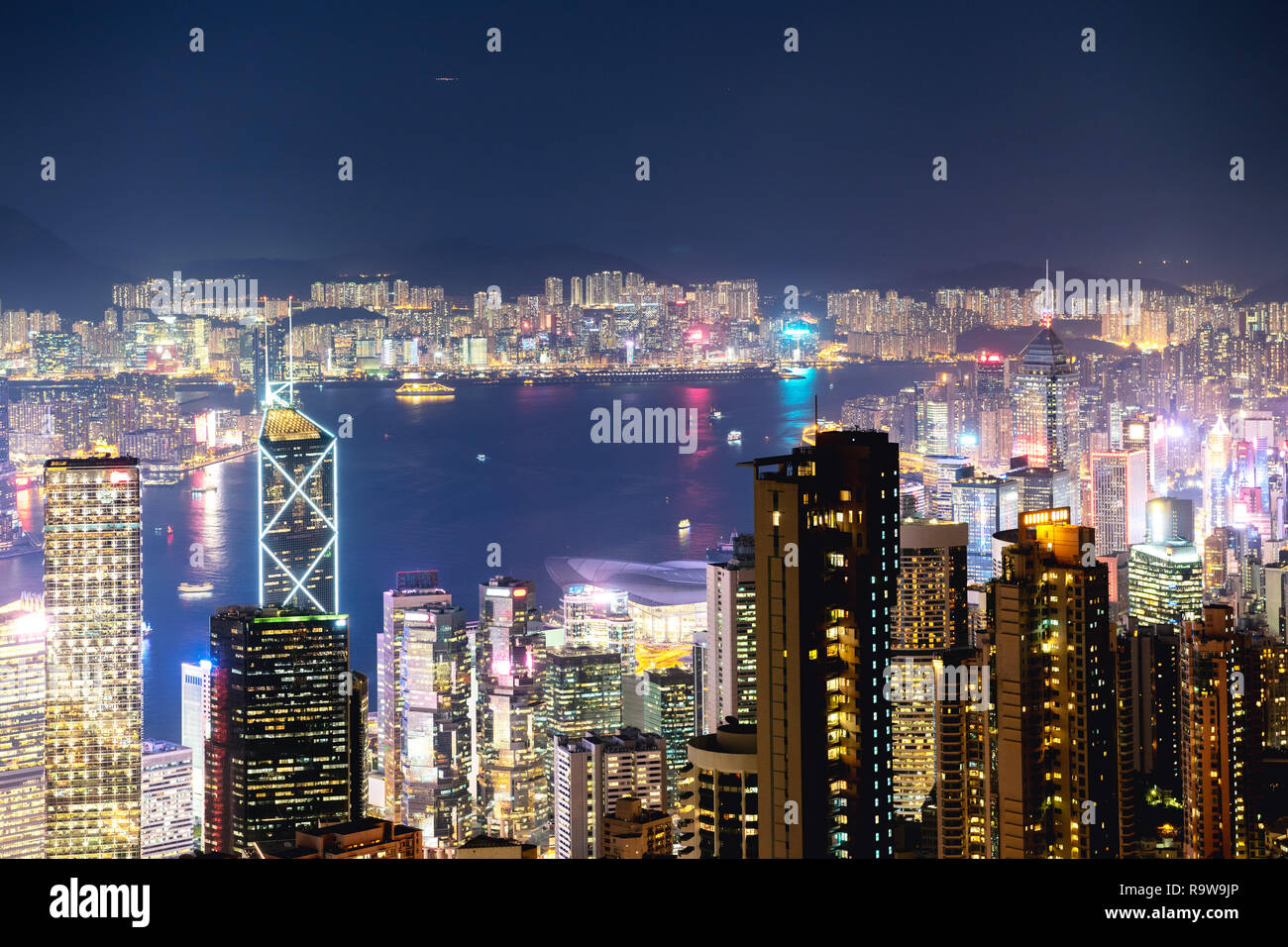 Hong Kong at night time. Aerial view from Victoria peak Stock Photo