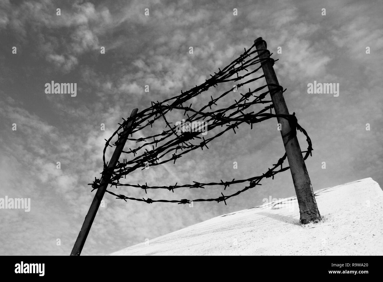 Barbed wire on the concrete fence. Captivity and deportation concept. - Stock Image