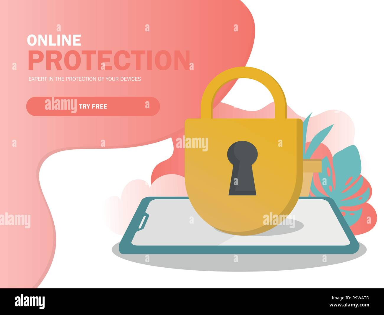 Mobile security, data protection concept. Modern flat design graphic elements - Stock Vector