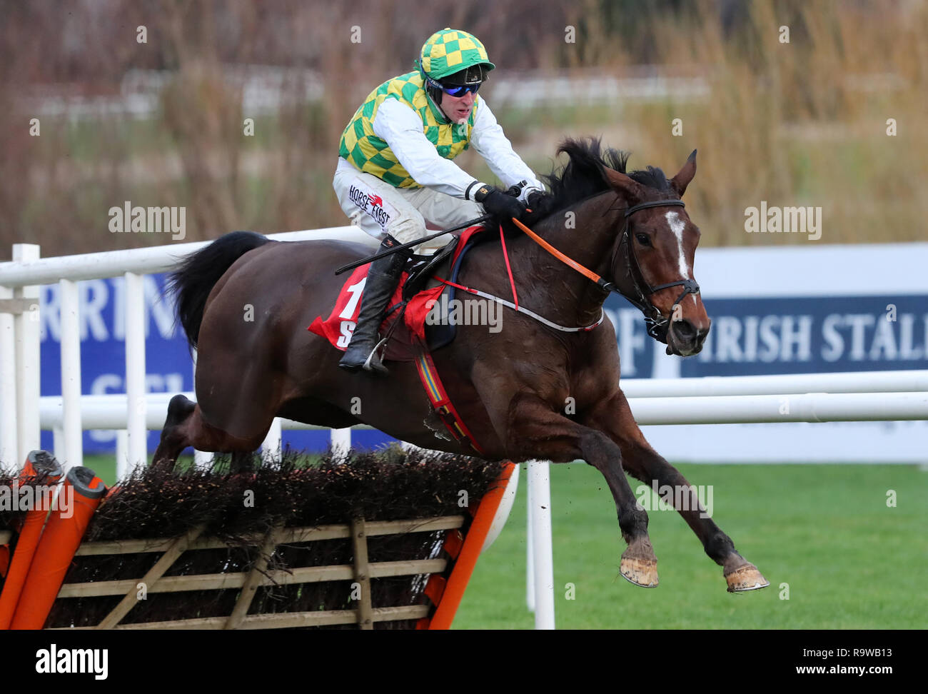 The Church Gate Ridden By Robbie Power Jumps The Last Before Going To Win The Irish Daily Star Christmas Handicap Hurdle During Day Three Of The Leopardstown Christmas Festival At Leopardstown Racecourse