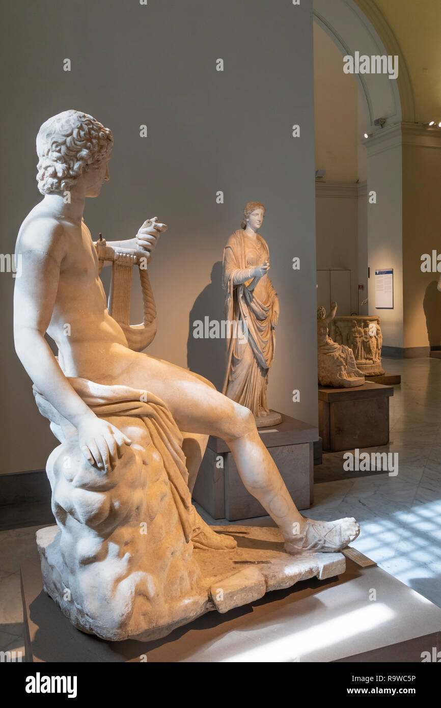 Roman period sculptures on display In the National Archaeological Museum at Naples, Italy. Stock Photo