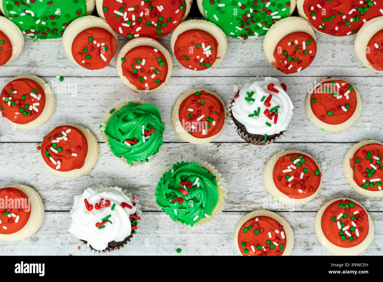 Top View Flatlay Of Christmas Holiday Treats Cupcakes And