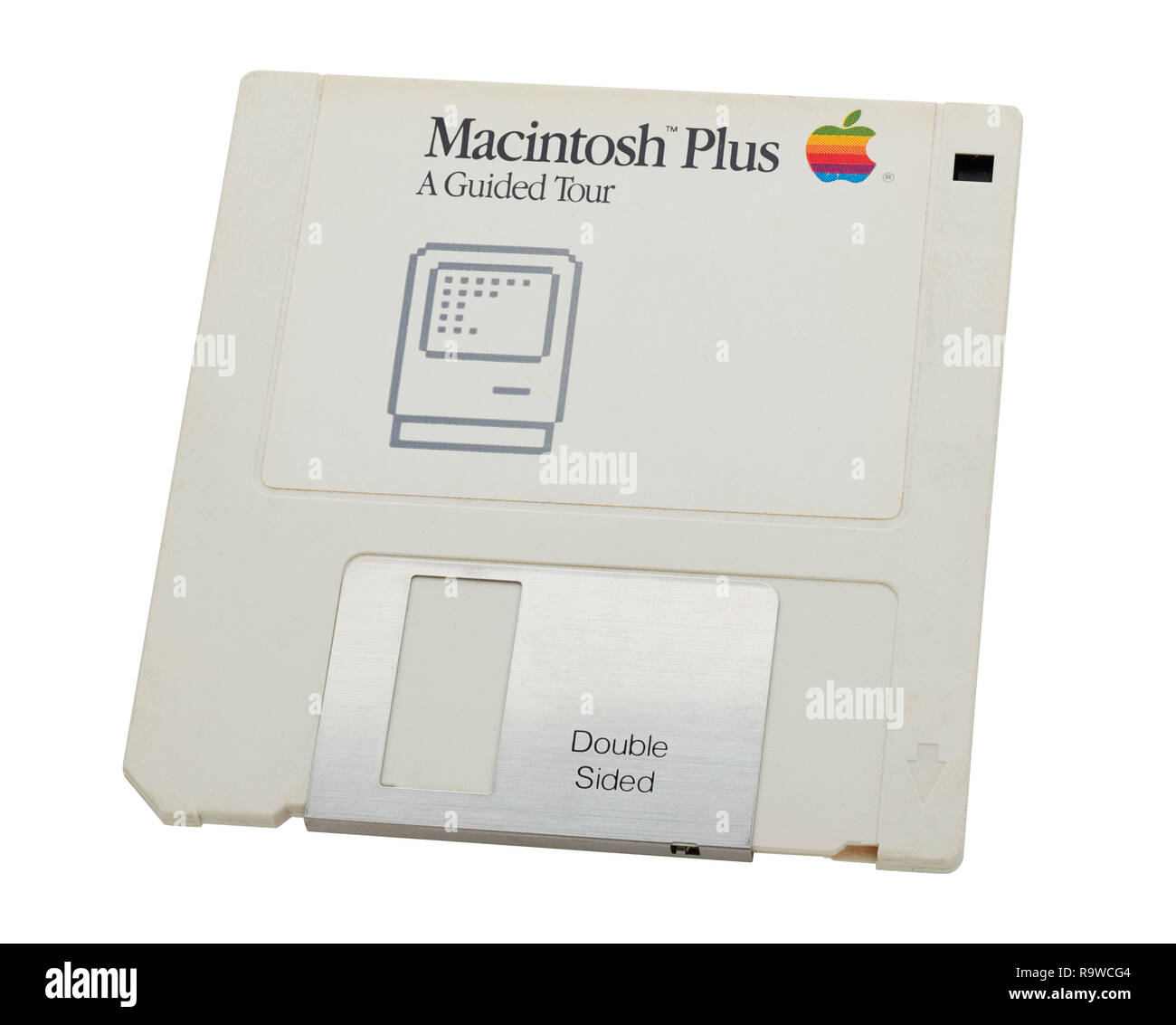 Original Apple Macintosh Plus floppy disk guided tour that came with SE30 computer in the early 1990s - Stock Image