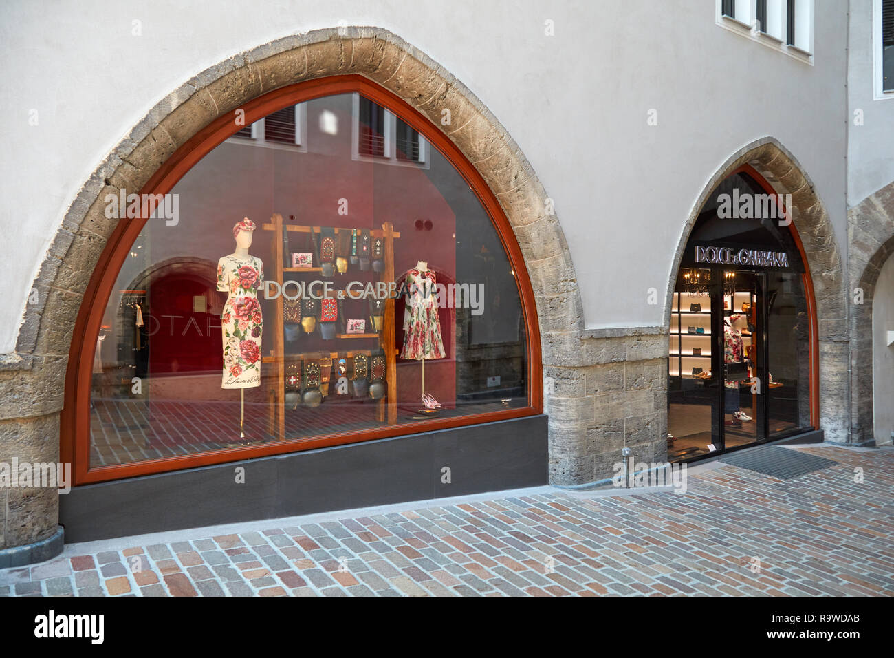 SANKT MORITZ, SWITZERLAND - AUGUST 16, 2018: Dolce Gabbana luxury store in a sunny summer day in Sankt Moritz, Switzerland - Stock Image