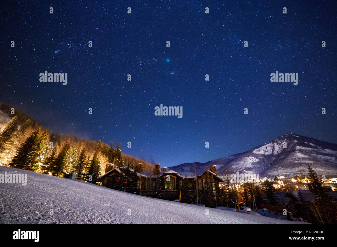 Comet 46P Wirtanen over Vail, Colorado as it made its closest pass to earth on December 16th, 2018. - Stock Image