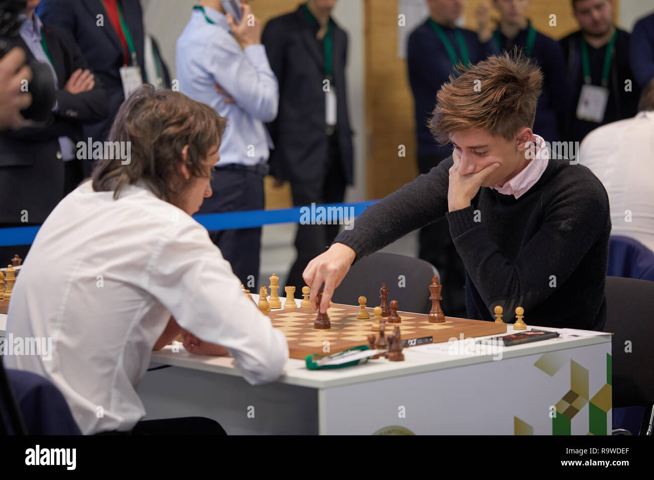 Grandmaster Daniil Dubov, Russia (right) competes in World Rapid Chess Championship 2018. Eventually he become the World Rapid Chess Champion - Stock Image