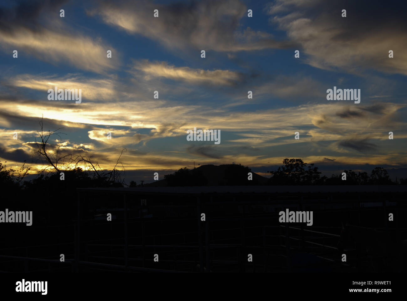 Sunset over the ranch - Stock Image