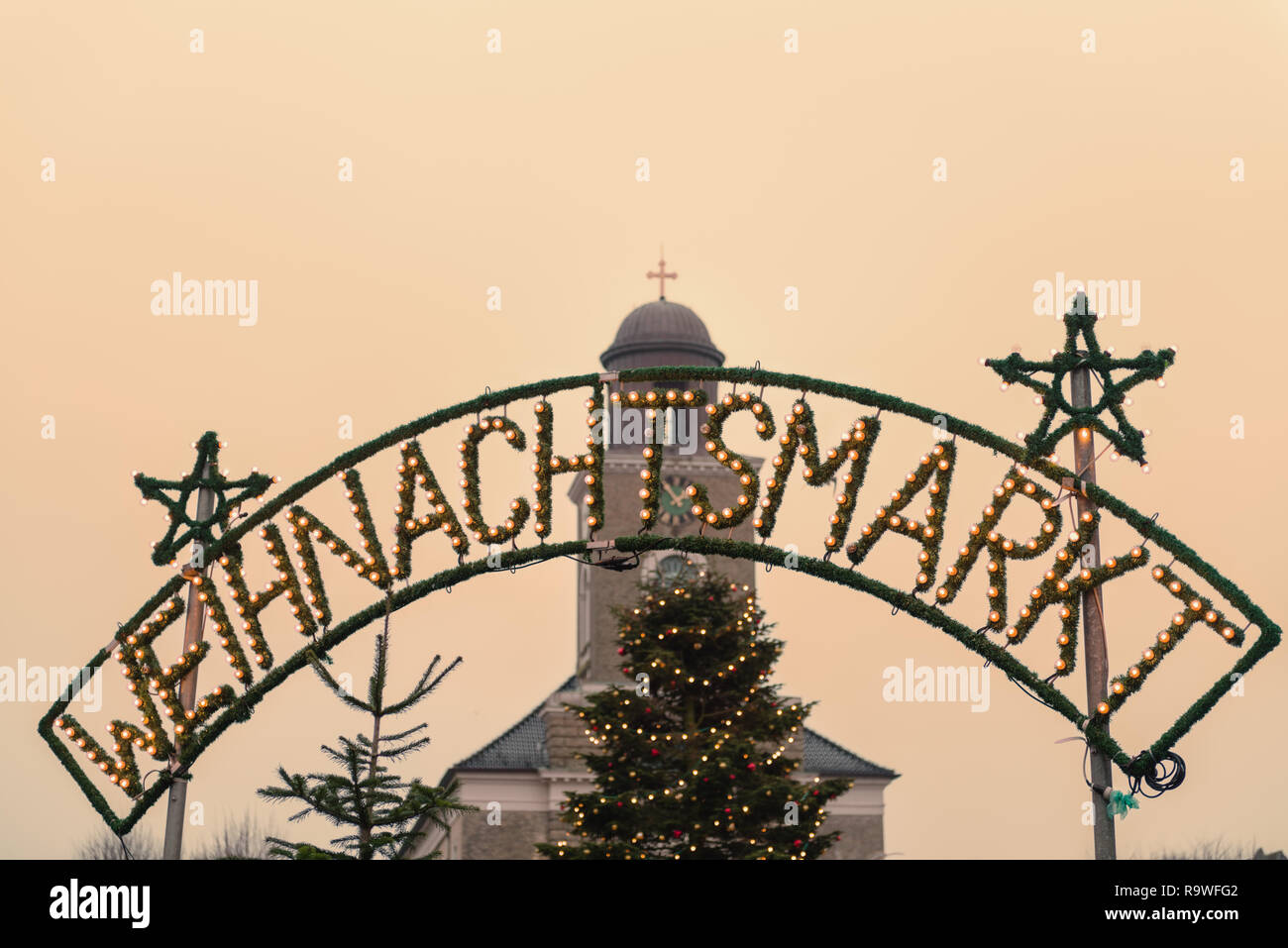 Weihnachtsmarkt or Christmas Market at the Stadtkirche, Husum, North Frisia, Schleswig-Holstein, North Germany, Europe - Stock Image