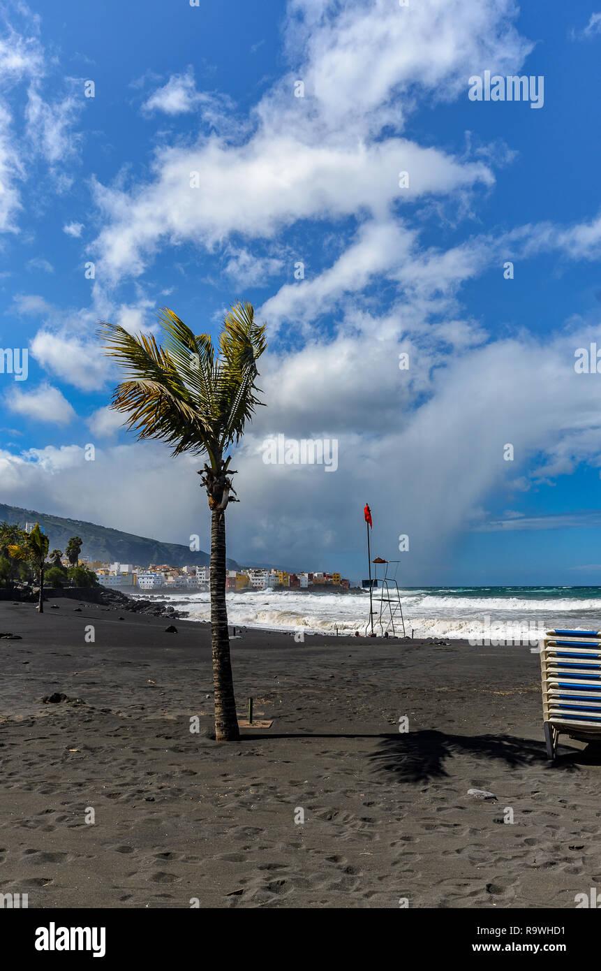 Storm! The Atlantic is raging. On the coast in the area of Puerto de la Cruz it gets uncomfortable. Stock Photo