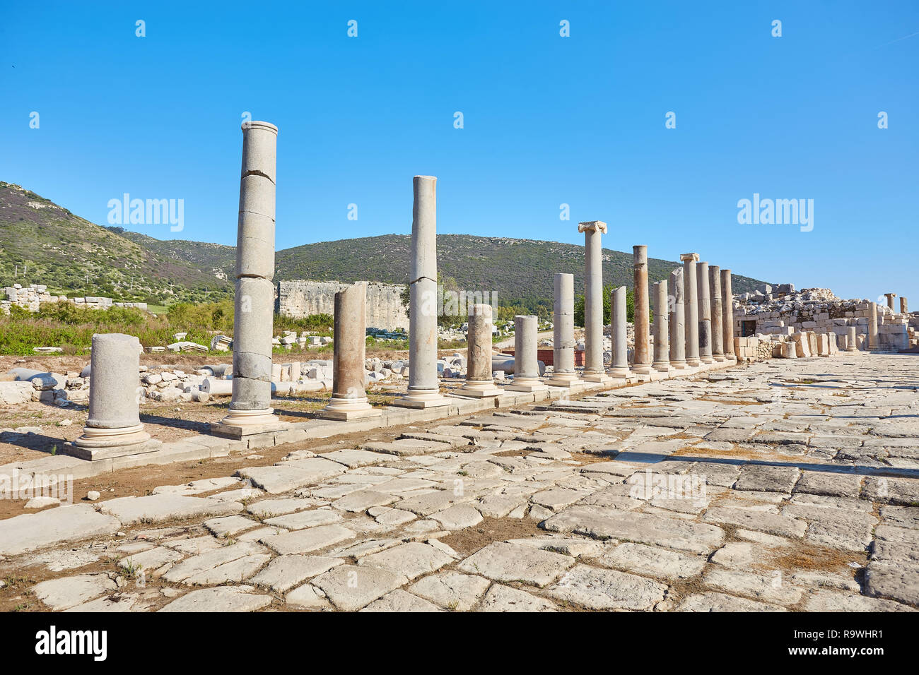Colonnaded street, ruins of ancient Patara, Antalya Province, Turkey - Stock Image