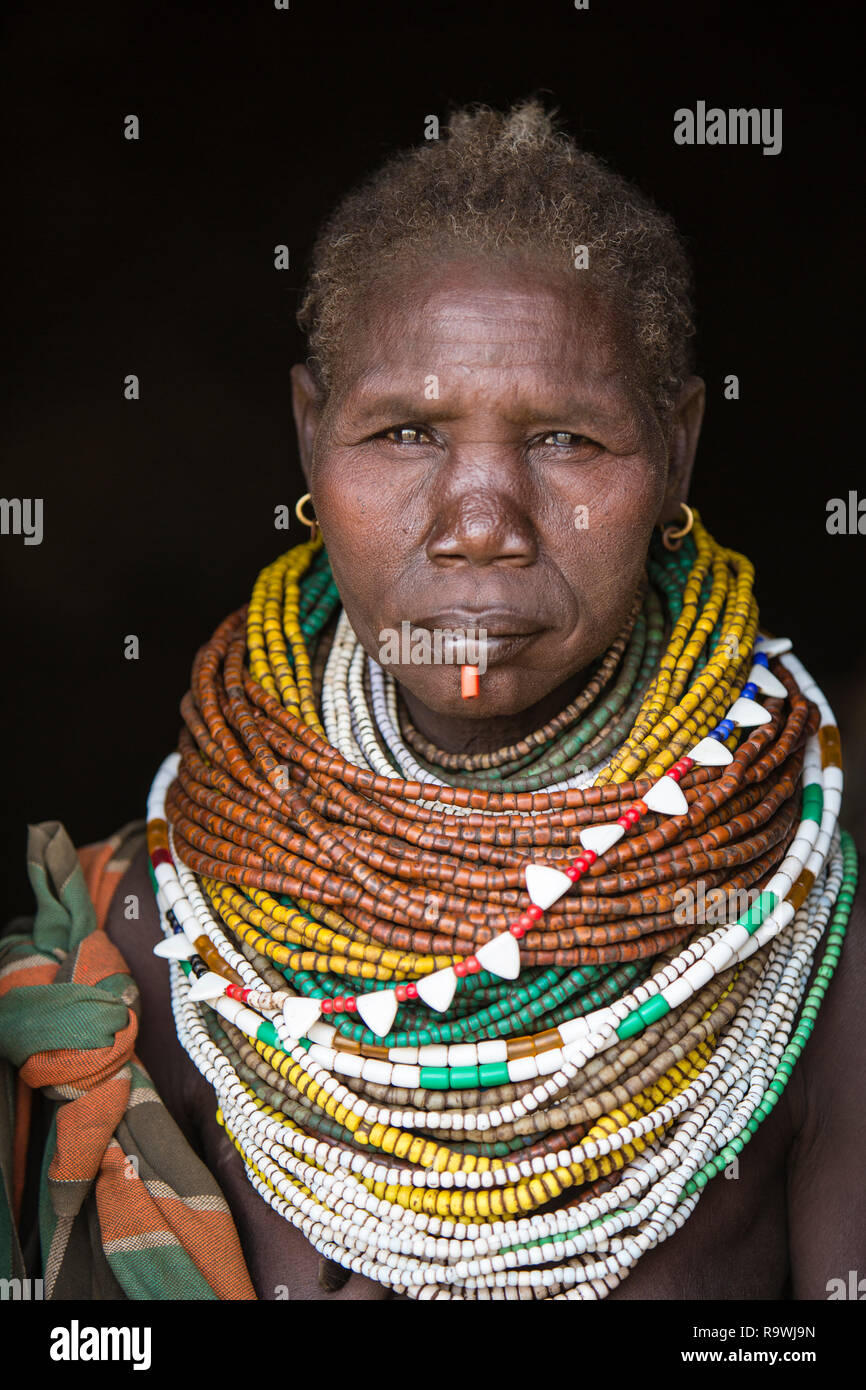 Nyangatom Tribal portrait, Omo Valley, Ethiopia Stock Photo