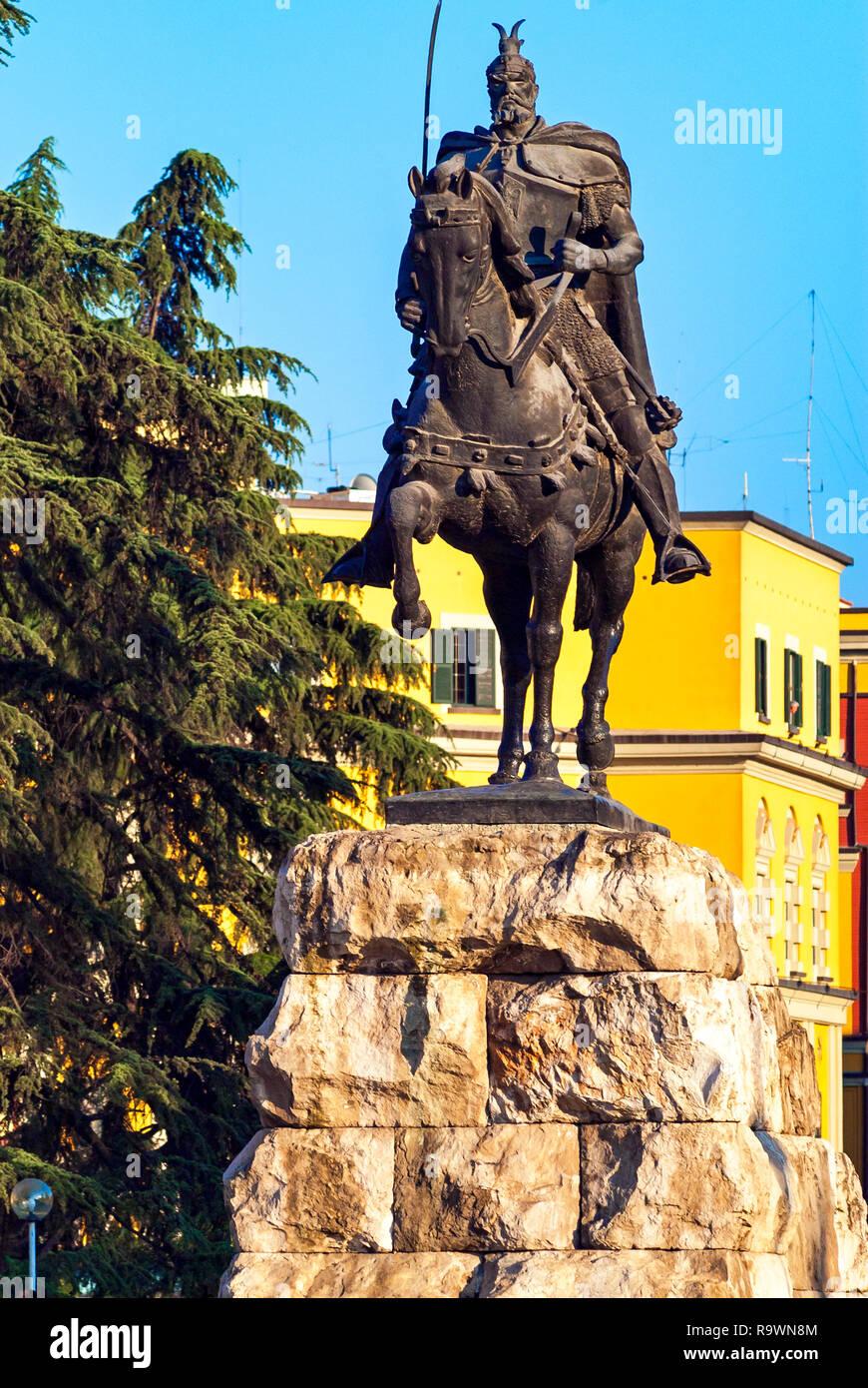Skanderberg Equestrian Statue and Square, Tirana, Albania - Stock Image