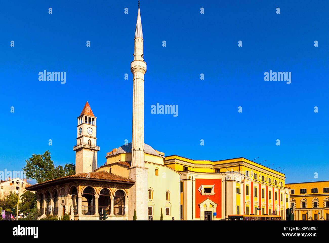 Ethem Bay mosque and Clock Tower, Skanderberg Square, Tirana, Albania - Stock Image