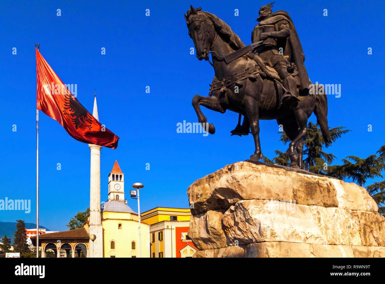 Skanderberg Equestrian Statue, Ethem Bay mosque, Clock Tower and Square, Tirana, Albania - Stock Image