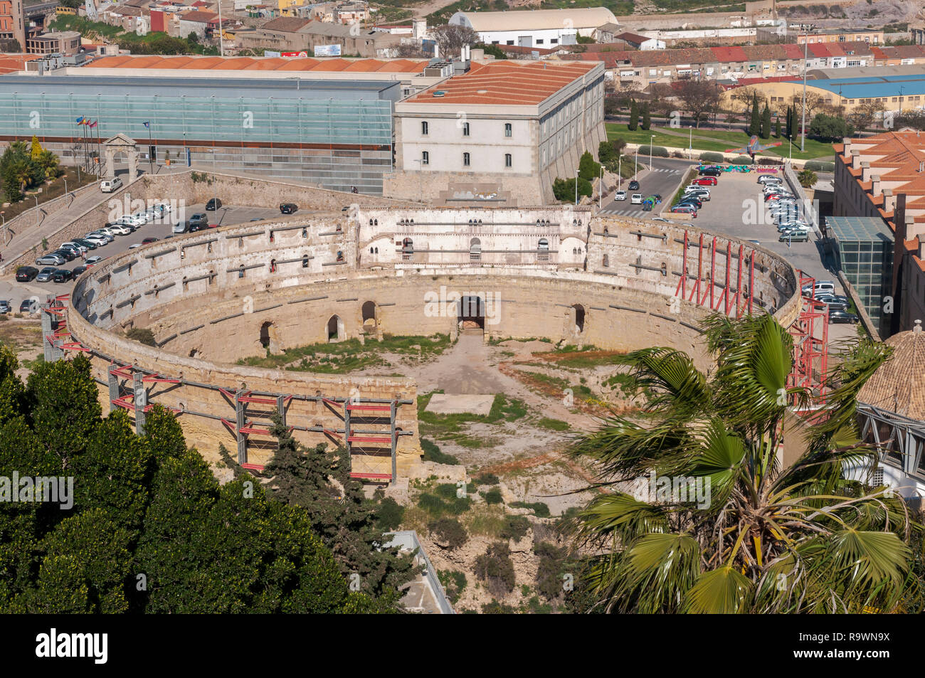 Views of the old bullring of Cartagena, in the province of Murcia, Spain. It was built in 1853. Stock Photo