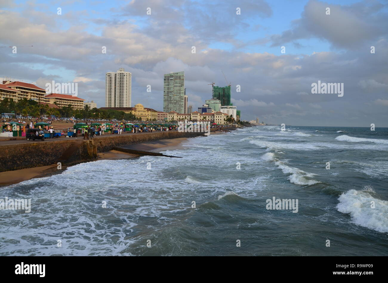 Galle face beach in Colombo Stock Photo