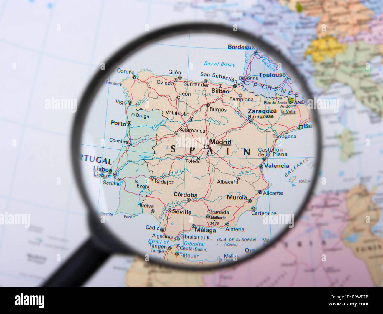 Spain under magnifier - Stock Image