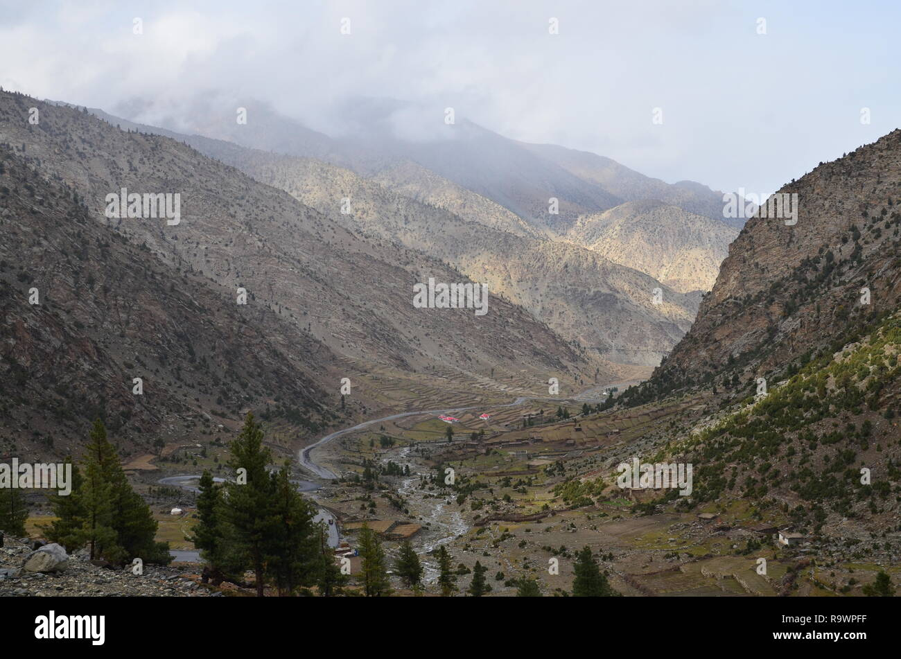 A view from Babusar top KPK looking down the valley in North Pakistan. - Stock Image