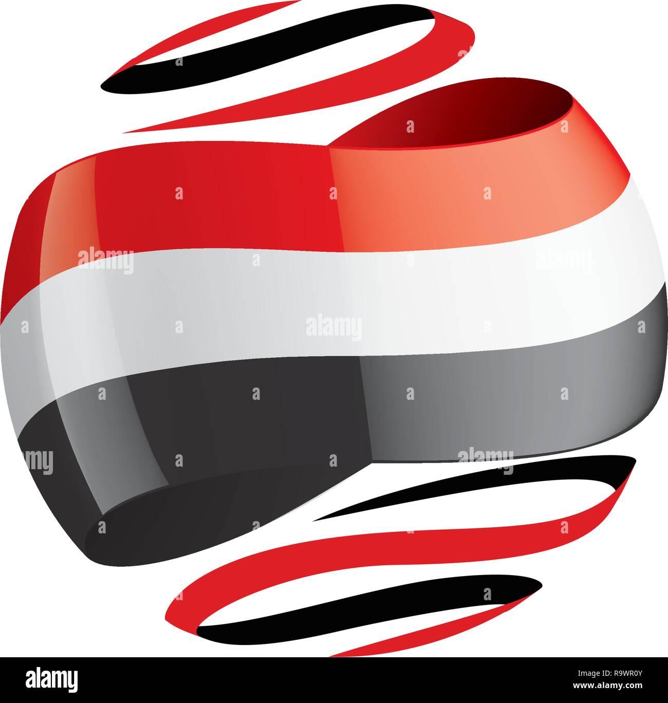 Yemeni flag, vector illustration on a white background. Stock Vector