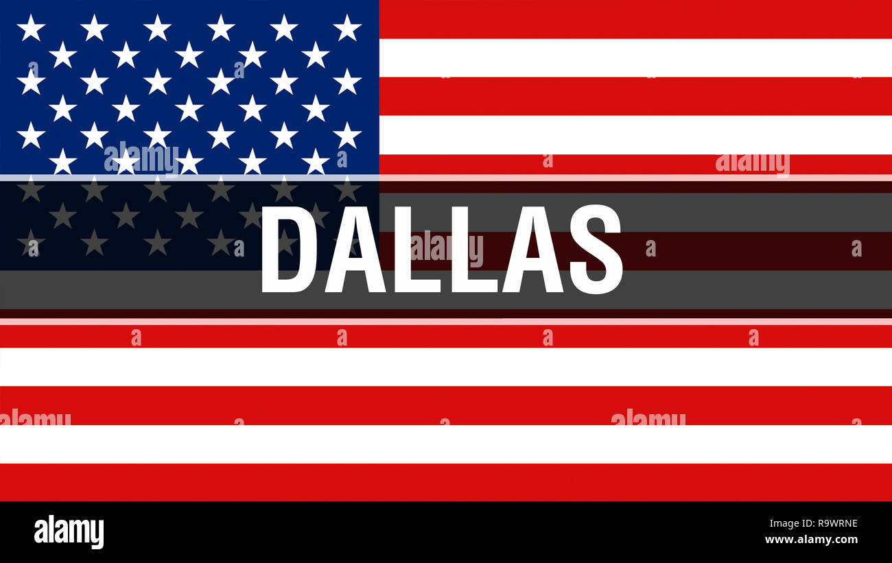 Dallas city on a USA flag background, 3D rendering  United
